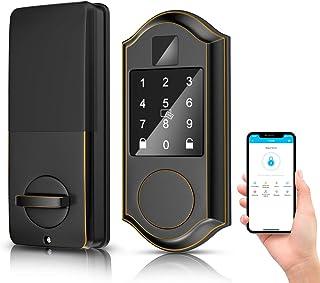 Narpult Smart Lock, Bluetooth Electronic Deadbolt Door Lock, Keyless Entry Keypad Lock Featuring Auto-Lock, Works with App/Fobs/Passcodes/Keys/Alexa Operation. - No Fingerpint, Bronze ORB