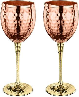 AVADOR Set of 2 Shatterproof 100% Handcrafted Copper Wine Glasses Hammered Finish 16 Oz. Gift Set