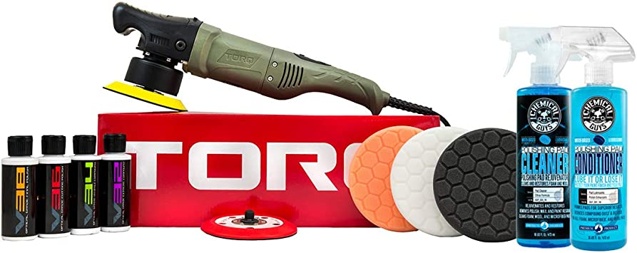 Chemical Guys BUF501X TORQ 10FX Random Orbital Polisher Kit with Pads, Pad Cleaner & Conditioner, Polishes & Compounds (11 Items): image