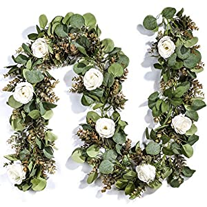 Miracliy Eucalyptus Garland with Flowers, 6.5ft Aritficial White Rose Vine Silk Floral Eucalyptus Leaves Greenery for Wedding Table Mantle Wall Backdrop Room Party Decor