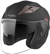 Motorcycle Open Face Helmet DOT Approved - YEMA YM-627 Motorbike Moped Jet Bobber Pilot Crash Chopper 3/4 Half Helmet with...