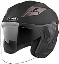 Motorcycle Open Face Helmet DOT Approved - YEMA YM-627 Motorbike Moped Jet Bobber Pilot Crash Chopper 3/4 Half Helmet with Sun Visor for Adult Men Women - Matte Black,XL