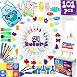 MAMBABYDAD Kids Paint Art Supplies 101PCS Non Toxic 24 Colors Acrylic Paint Tabletop Easel Canvas,Cups Palette Pen Sponge Brushes Tools Set,Crafts Paint Kit Birthday Gift for Toddlers