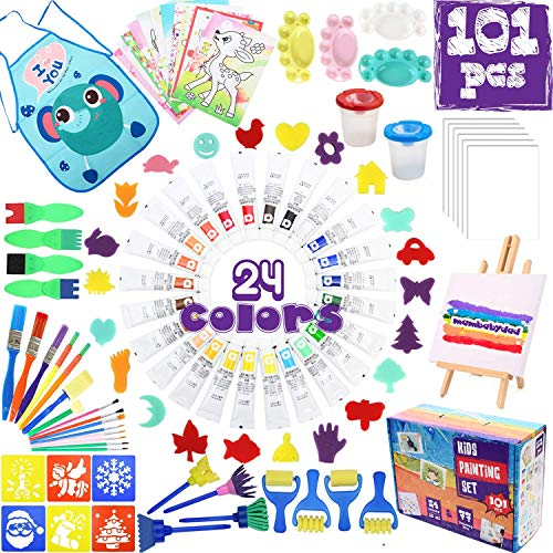MAMBABYDAD Kids Paint Art Supplies 101PCS Washable Non Toxic 24 Colors Acrylic Paint Tabletop Easel Canvas,Cups Palette Pen Sponge Brushes Tools Set,Crafts Paint Kit Birthday Gift for Toddlers