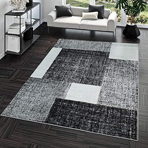 TT Home Alfombra Pelo Corto Económica Fácil Jaspeada Cuadros Blanco Gris Antracita, Größe:80x150 cm