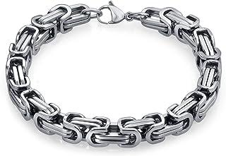 Bling Jewelry Due Toni Bizantino Catena Meccanica Meccanica Uomo Ragazzo Bracciale per Uomini Nero Argento o Oro-Tono inst...