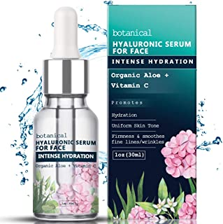 Hyaluronic Acid Serum for Face, Repairs Damaged Skin, All Natural with Vitamin C, E, Jojoba Oil, Witch Hazel. (Anti Aging Formula)