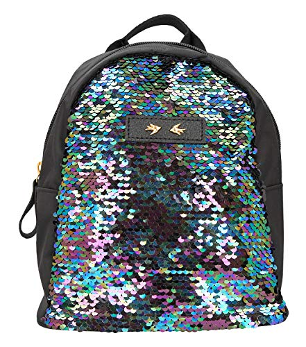 Depesche 10357 - Rucksack mit Pailletten Trend Love, schwarz