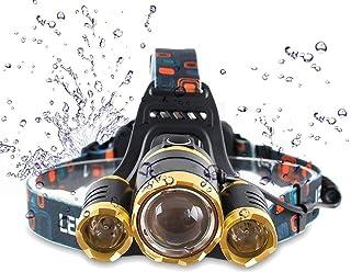 Waterproof 10000 Lumen 3 Led Headlamp XML T6 Head Lamp Powerful Led Headlight, Rechargeable Flashlight Head Lights for Cam...