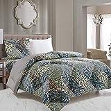 WPM 2 Piece Animal Print Comforter with Pillow Sham, Black White Gray Leopard Zebra Giraffe Jungle Forest Theme Design Twin Size Bedding- Safari (Black, Twin)
