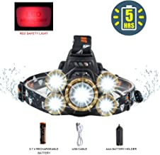 LED Headlamp Flashlight,COSOOS Rechargeable Headlamp with Red Safety Light, 3800 Lumen Brightest 4-Mode Headlight, Waterproof, Zoomable Headlamp for Adults,Ready for Hurricane,Li-ion Battery Included