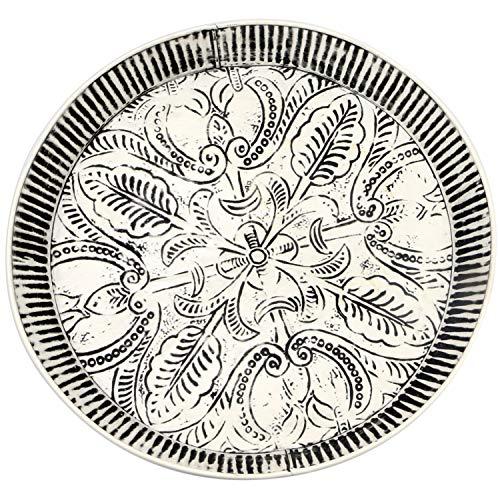 Orientalisches rundes Tablett aus Metall Animata 41cm   Marokkanisches Teetablett in der Farbe Weiss   Orient Tablett schwarz verziert   Orientalische Dekoration auf dem gedeckten Tisch