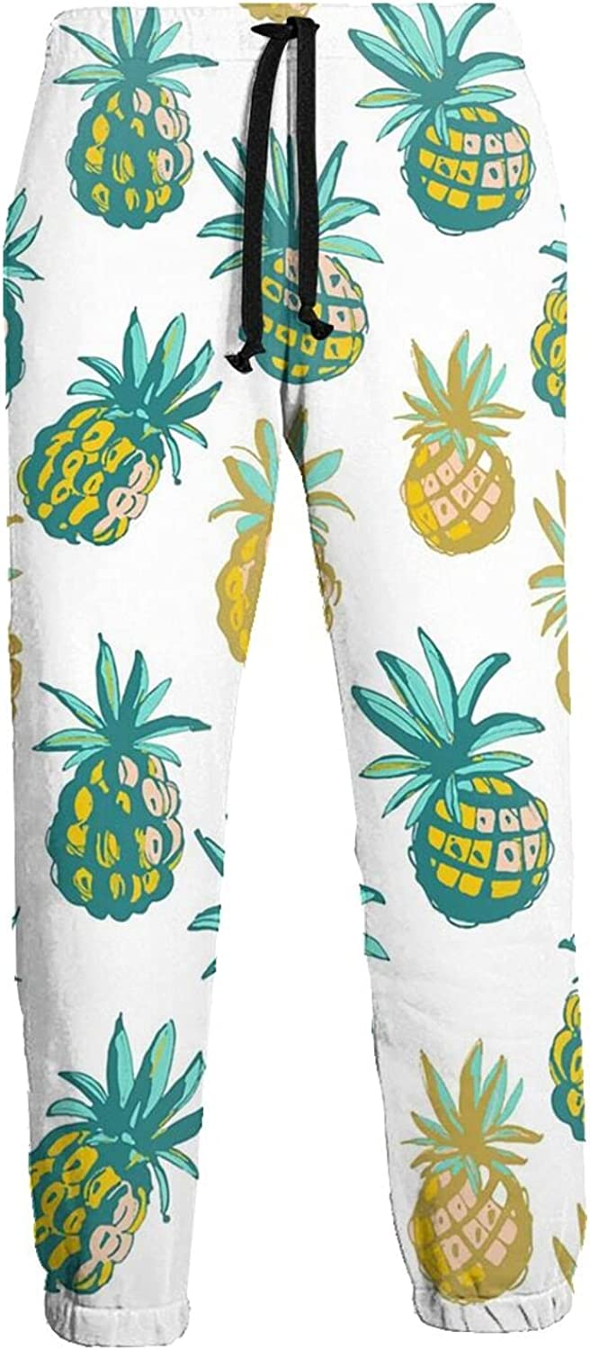 Men's Women's Sweatpants Pineapples Blue and Yellow Athletic Running Pants Workout Jogger Sports Pant