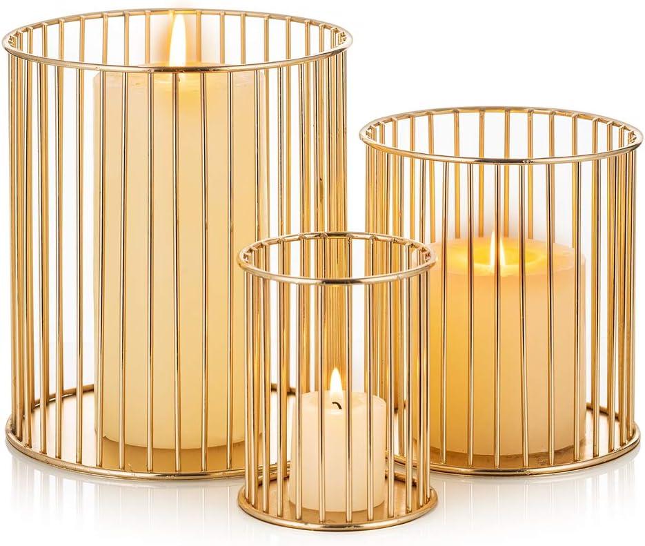 Sziqiqi Pillar Candle Holder Set Candlehold of 3 safety Decorative Cage wholesale