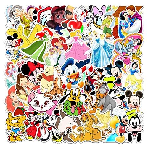 LVLUO Pegatina de Anime de Disney Mickey Mouse Blancanieves Equipaje Piano Coche Bicicleta Graffiti PVC Pegatina Impermeable 55 Uds