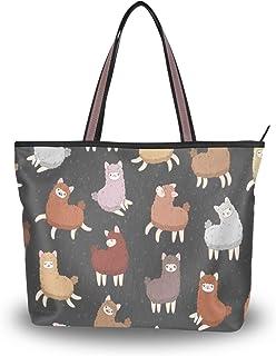 Mnsruu Damen-Handtasche mit Reißverschluss, große Schultertasche, lässige Einkaufstasche, L (niedlicher Lama-Alpaka-Tierdr...