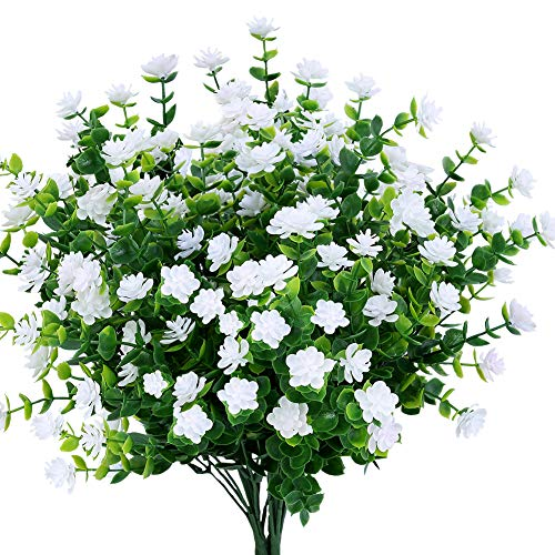 TEMCHY Artificial Flowers, Fake Outdoor UV Resistant Boxwood Shrubs Faux Plastic Greenery Plants for Outside Hanging Planter Patio Yard Wedding Indoor Home Kitchen Farmhouse Decor(White)