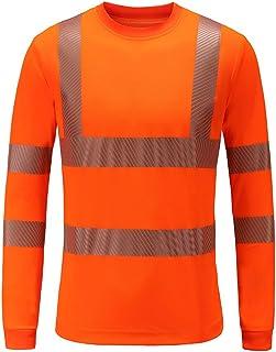 AYKRM Safety High Visibility Long Sleeve Construction Work Shirts Class 3 Workwear | Hi Vis Shirt
