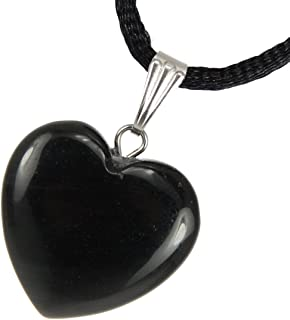 Steampunkers USA Big Heart Collection - 20mm Classic Obsidian Black - 20-22 inch Black Cord – Crystal Gemstone Carved Necklace Charm Handmade