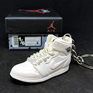Air Jordan I 1 Retro High Triple All White OG Sneakers Shoes 3D Keychain Figure + Box