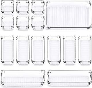 15 pièces Organiseurs de Tiroir bureau Plateaux de Rangement, 4 tailles boîtes de Rangement en Plastique Organisateu pour ...