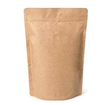 250g 8oz 1/2lb Kraft Paper Stand up Zipper Pouches Coffee Bags Coffee  Pouches with Valve (Pack of 50) : Amazon.in: Home & Kitchen