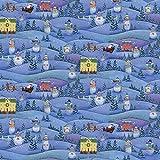 Benartex BEN228 Weihnachtsstoff – Schnee Village Blau –