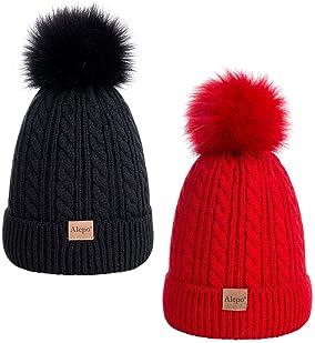 Kids Fleeced Lined Ages 2-5 Soft Thick 2ear Pompom Knit Beanie Ski Cap