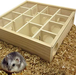 TangXSTAR Hamster Labyrinth Puzzle Toy Wooden Maze Tunnel Toy with Glass Cover for Small Hamster Mice Gerbils