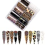 Leopard Nail Foils Nail Art Transfer Stickers, 10 Rolls Leopard Print Nail foil Transfers Holographic Starry Sky Animal Skin Design Full Wrap Decals for Women Acrylic Nail Decor Nail Art Supplies