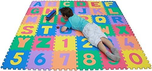descuento de ventas Playmatonline PM-001 - Alfombra rompecabezas con números y y y letras desmontables, resistente al agua, incluye bolsa (a partir de 3 años, tamaño total 3,34 m cuadrados, cada pieza  30,5 cm aprox.), multiColor  selección larga