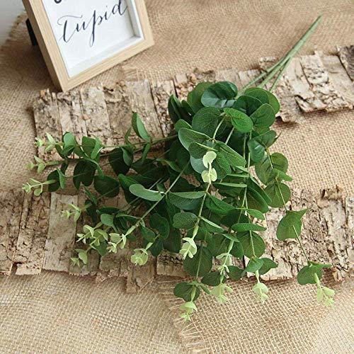 Interior Ramo de Flores Artificiales del Interior, eucalipto, Longitud 50 cm Verde-Blanca, 5PCS, for Partido del jardín del Hotel decoración de la Oficina Artificial (Color : Green)