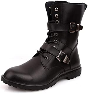 Sunny&Baby Combat Boots for Men Mid Calf Boots Lace up Genuine Leather Rubber Sole Stitching Dual Monk Straps (Fleece Lined Optional) Durable (Color : Black(Fleece Inside), Size : 6.5 UK)