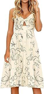 3c34fc0ba856 FANCYINN Womens Floral Prints Tie Front Button Down Spaghetti Strap Midi  Dress