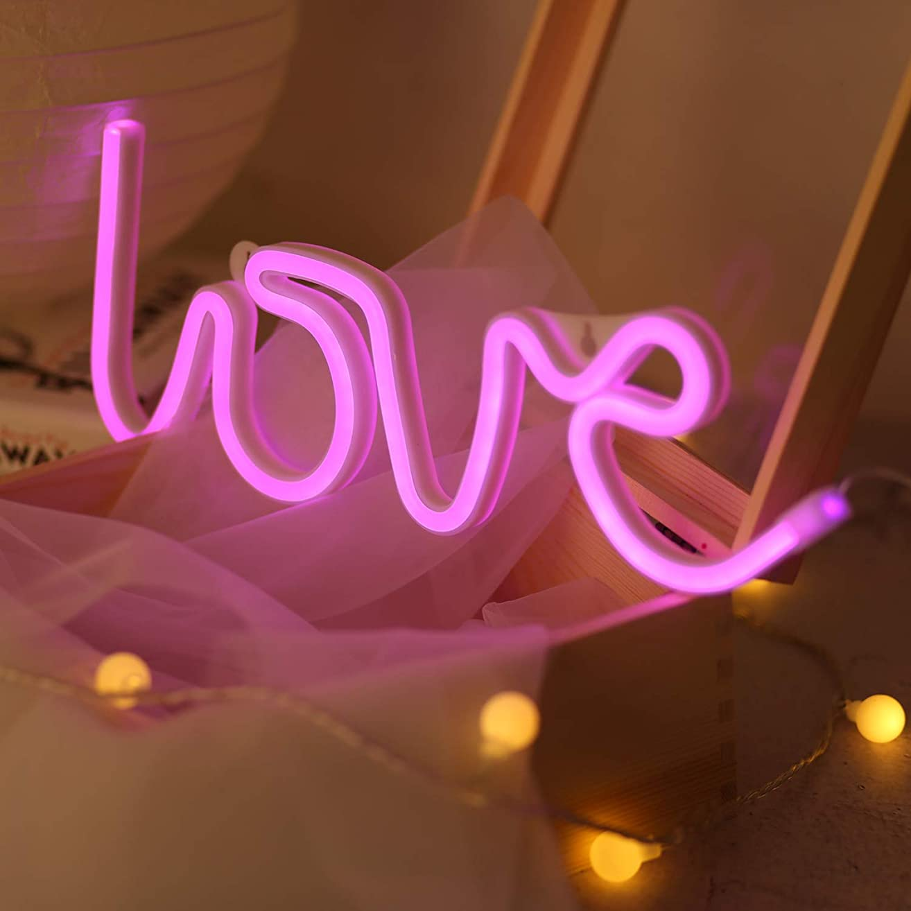 Battife Neon Signs LED Light Wall Night Light, USB or Battery Operated,Love Shaped for Bedroom, Home Accessories, Living Room, Party and Holiday Decorations Gifts (Love)