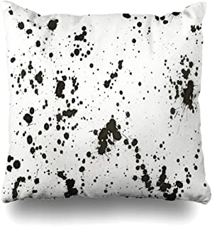 Throw Pillow Cover Spray Black Ink Splashes on White Abstract Paint Blob Blot Brush Color Design Splashing Decorative Zipper Cushion Case Square Home Decor Pillowcase 18x18 Inches