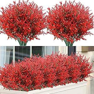 Silk Flower Arrangements 10 Bundles Artificial Lavender Flowers Outdoor Fake Flowers Silk Flowers Fake Shrubs Greenery Bushes Bouquet for Home Décor, Garden, Lifelike UV Resistant Faux Plastic Bouquet Plants(Red)