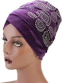 Fashian Lady Crystal Velvet Muslim Turban Pleated Head Wrap Scarf Long Tail Hat Pre Tied Headwear Cancer Chemo Cap WJ-09 (Color : 5, Size : 170 * 26CM)