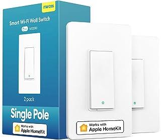 کلید هوشمند چراغ meross با Apple Homekit ، Siri ، Alexa و Google Assistant ، سوئیچ نور 2.4 گیگاهرتزی WiFi ، سیم خنثی مورد نیاز ، تک قطب ، کنترل از راه دور ، برنامه ، بدون نیاز به توپی ، 2 بسته کار می کند