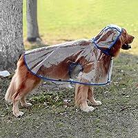 Glanzzeit透明犬レインコート - 防水フード付きレインカバー - 中型から大型犬用の調整可能なレインケープ2 XL - 6 XL