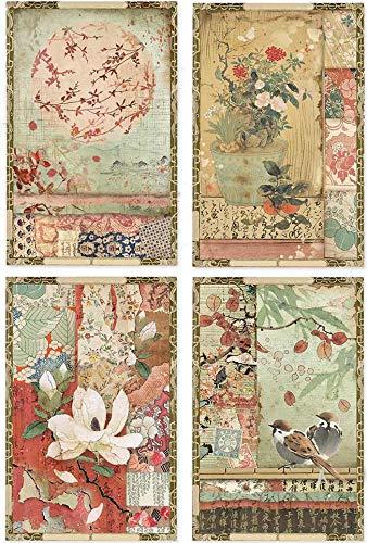 STAMPERIA INTERNATIONAL, KFT Paquete de papel de arroz A4 JAP POSTCD, tarjetas postales japonesas, tamaño único