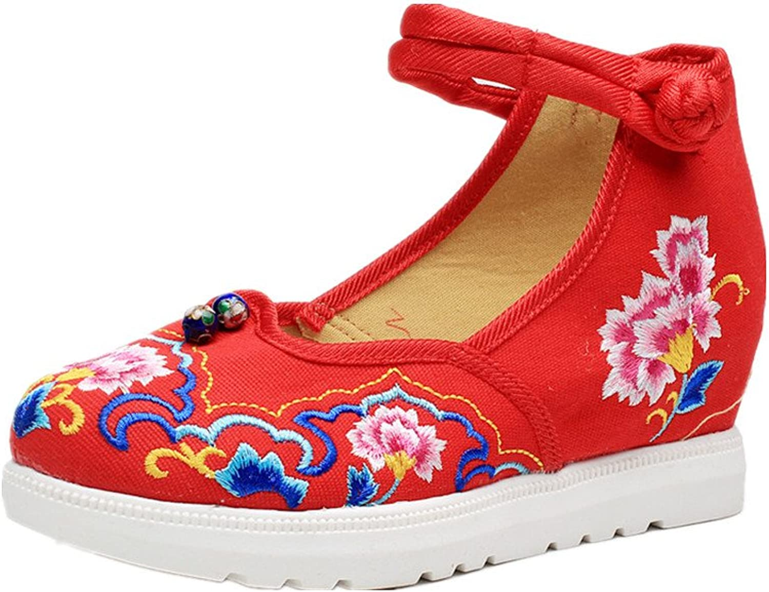 Tianrui Crown Embroidered Flower Wedgew shoes Increasing shoes Sandals Cheongsam shoes
