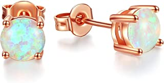 FINELOVE Rose Gold Plated 6mm/8mm Round White Opal Stud Earrings For Women