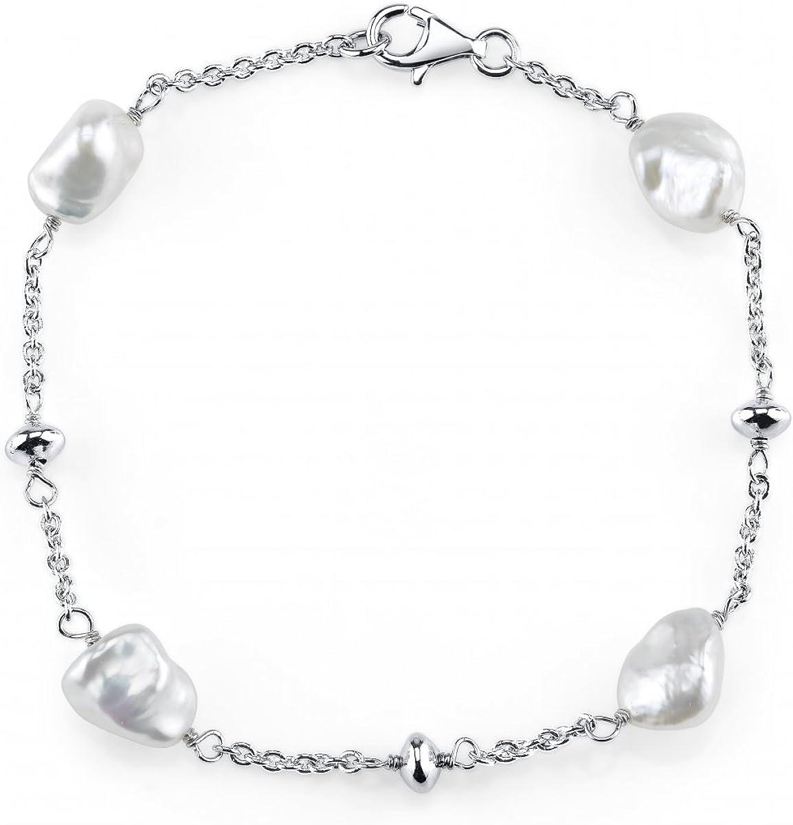 THE PEARL SOURCE 7-8mm Genuine White Keshi Cultured Pearl Bracel
