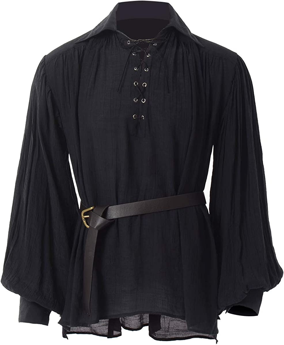 GRACEART Medieval Poet's Pirate Shirt Red Renaissance Luxury fo Year-end gift Costume