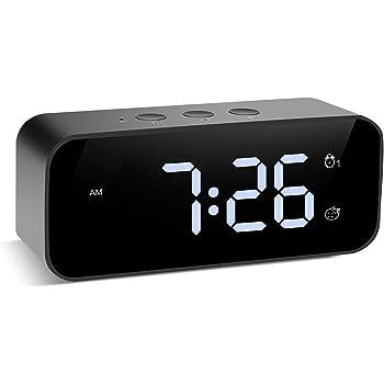 目覚まし時計 置き時計 デジタル時計 USB充電式 ワイヤレス使用 三段バックライト 部屋/オフィス用小型アラーム 録音/ベル選曲/記憶機能付き スヌーズ/サウンドコントロール 8曲のベル選択/ベル三段音量選択でき 二組アラーム付き 携帯充電可能 録音をベルに設定でき 多機能目覚まし時計 日本語の説明書付き