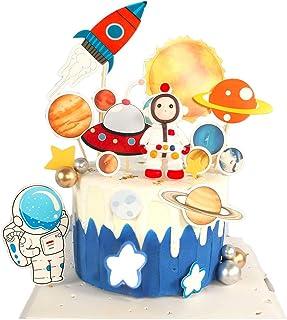 Pastel de Espacio Decoraciones,Astronauta Decoración de Tartas,Topper Feliz cumpleaños Happy Birthday Cake Topper para Cumpleaños Niños Party
