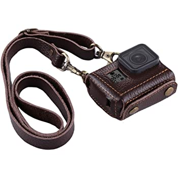 for GoPro HERO4 Litchi Texture Genuine Leather Protective Case with Sling Durable Color : Black