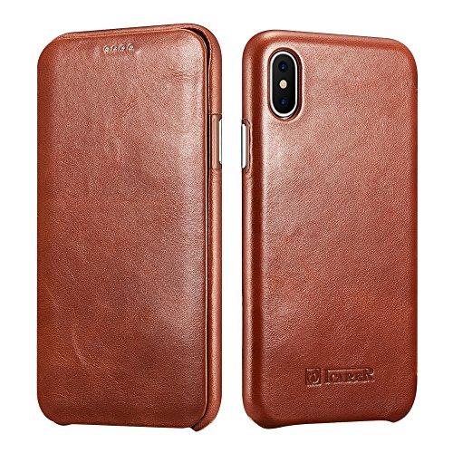 ICARER iPhone XS/X Ledertasche Hülle Ledertasche Vintage Antik Handytasche Leder Hülle Case mit verstecktem Magnetverschluss für Apple iPhone XS/iPhone X 5,8 Zoll (Braun)