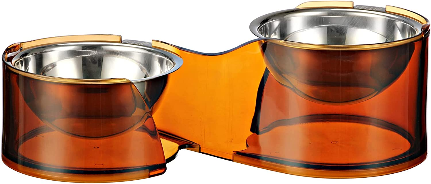 Felli Pet Elevated Food Water Double Bowls Stainless Steel Cat Dog Oval Dishes with Stand for Puppies, Kittens, Small Pet Non Slip Base Ergonomic Raised Food Feeder for Chihuahua